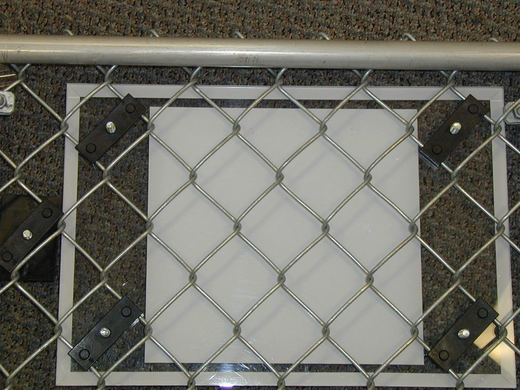chain mesh sign bracket in use rite
