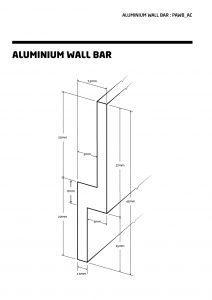 Aluminium wall bar. Length up to 4.5M, Width 45mm, Depth 7.5mm.