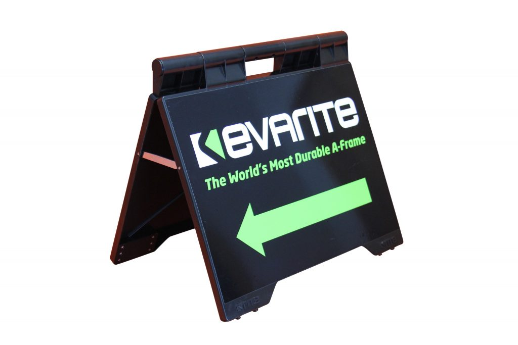 evarite sign a-frame black left pointing arrow picture