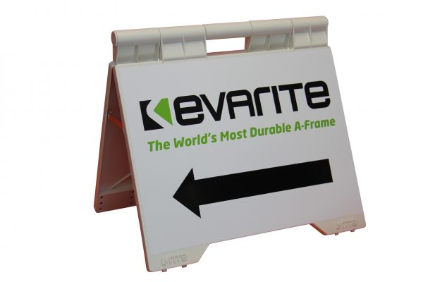 evaite sign a-frame whie left pointing arrow photo